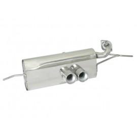Silencieux arrière en inox 2 sorties 80mm + Catalyseur métallique SMART 999CC (COUPÈ/CABRIO) 52/62KW 2007 - 12/2010